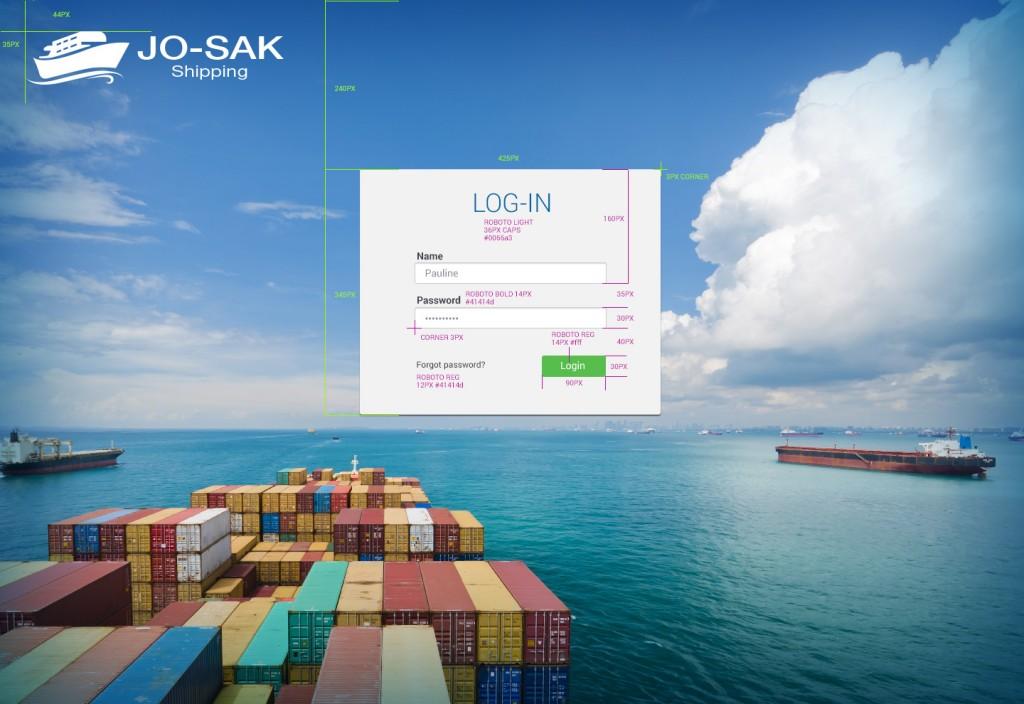 Josak Shipping log-in screen