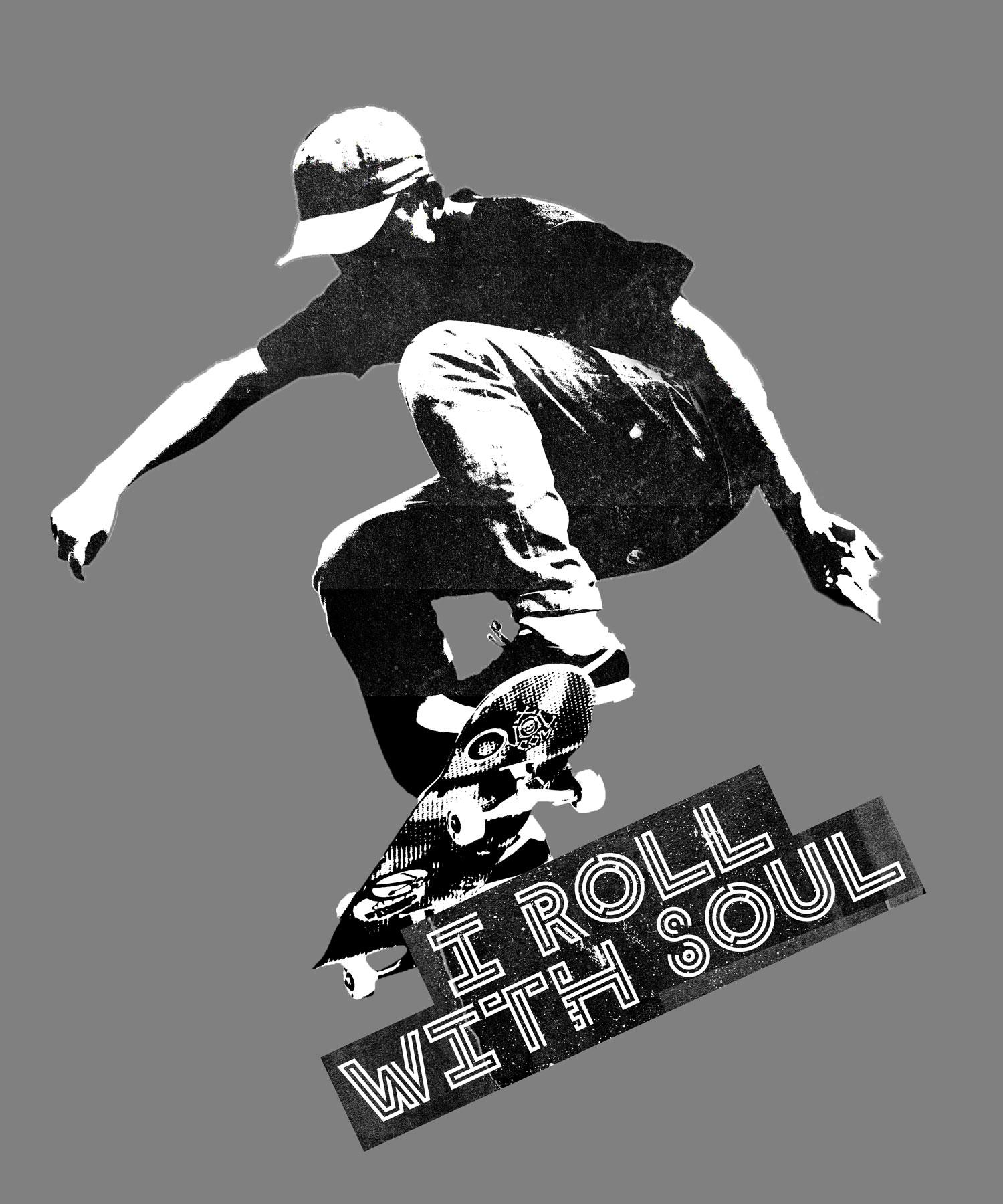 """Craftyfish """"I Roll With Soul"""" Skateboard stencil T-Shirt"""
